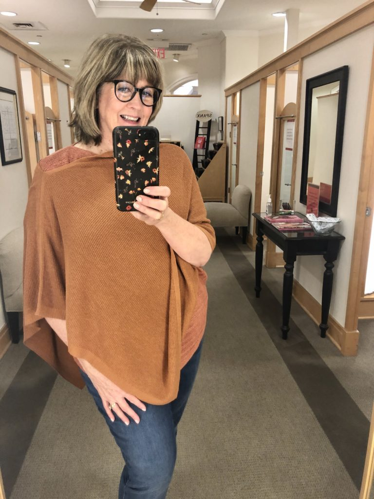 Fall 2020 Talbots Poncho with Pamela Lutrell on Over 50 Feeling 40