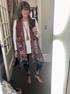 Pamela Lutrell in Soft Surroundings vest on over 50 feeling 40