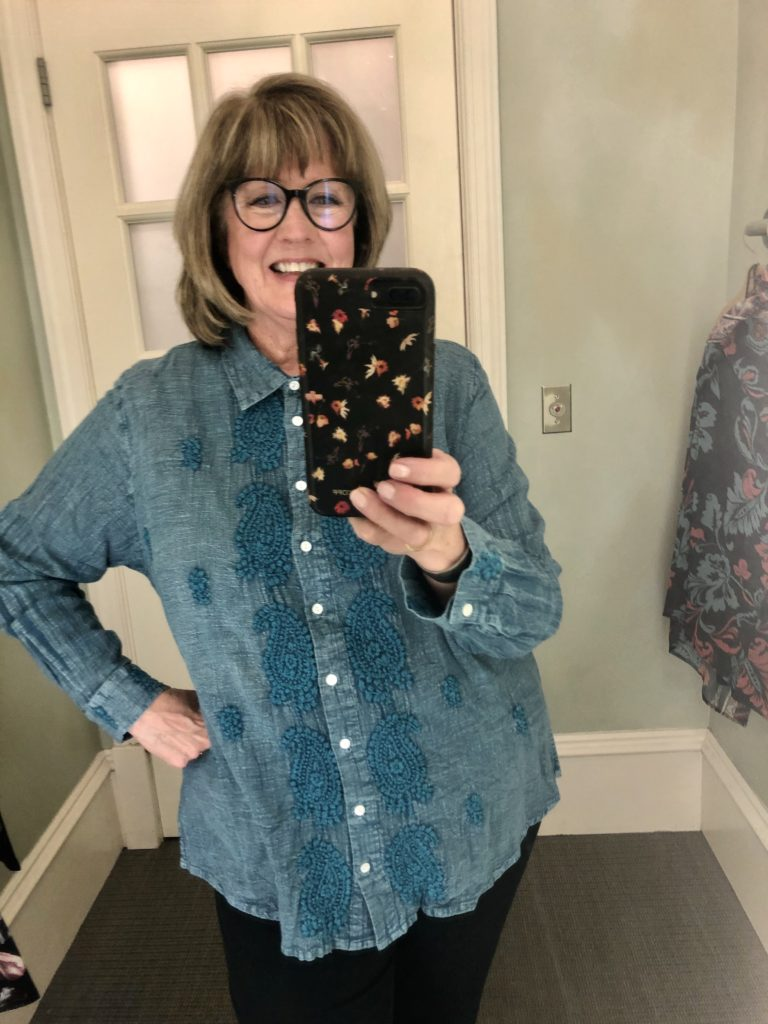 Pamela Lutrell in Embroidered Blouse at Soft Surroundings on Over 50 Feeling 40