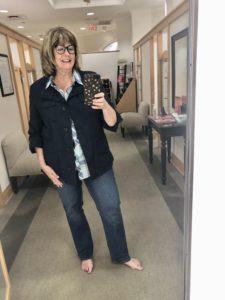 Pamela Lutrell in Talbots straight leg jeans on over 50 feeling 40