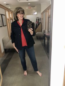 Pamela Lutrell in Talbot's Safari Jacket on Over 50 Feeling 40