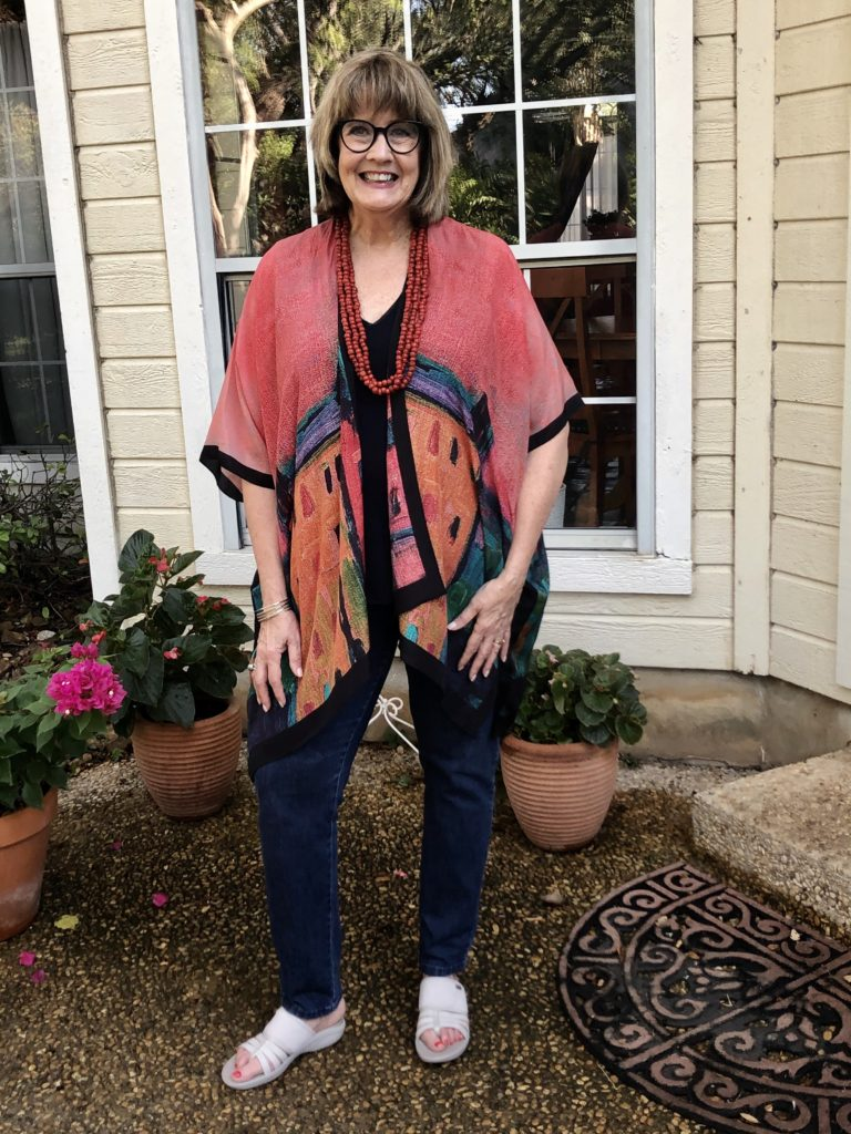 Soft Surroundings kimono and necklace on Over 50 Feeling 40