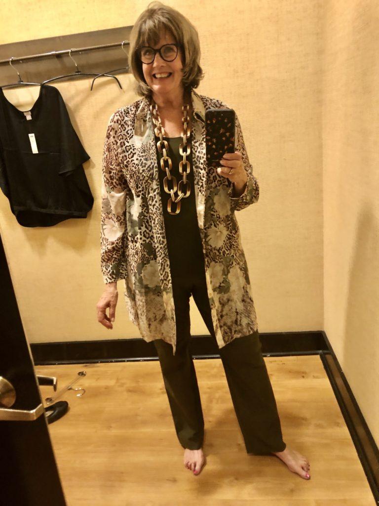 Pamela Lutrell in Chicos Ruana on Over 50 Feeling 40