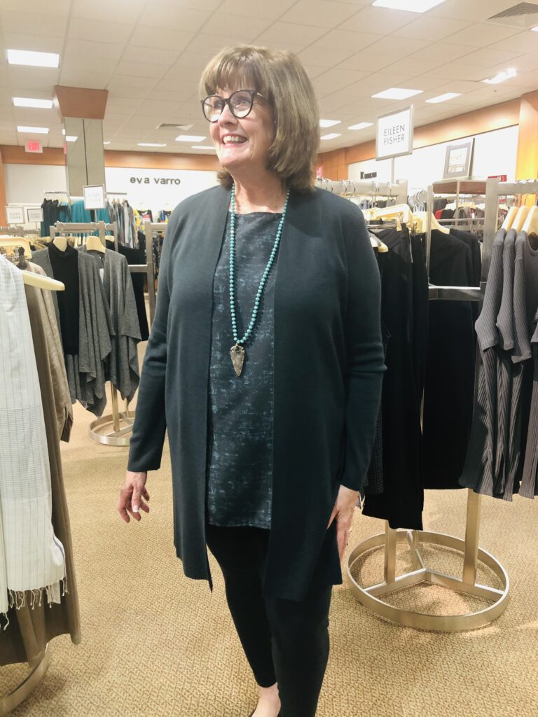 Pamela Lutrell in Eileen Fisher at Dillards