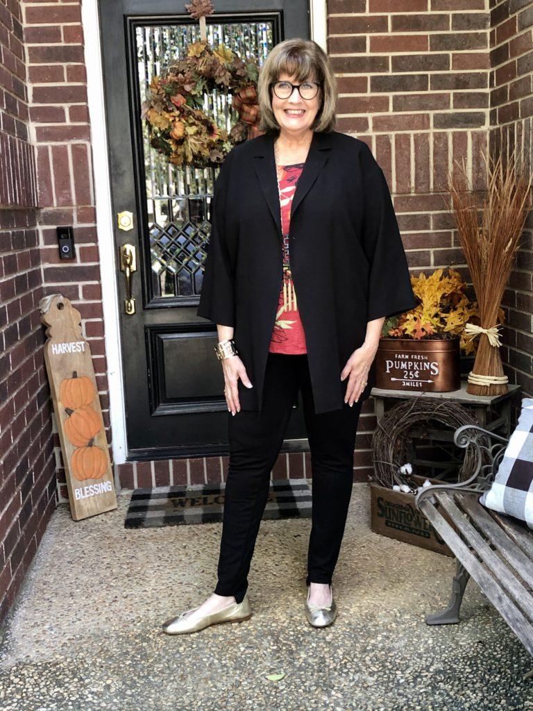 Pamela Lutrell wears Eileen Fisher kimono jacket on Over 50 Feeling 40