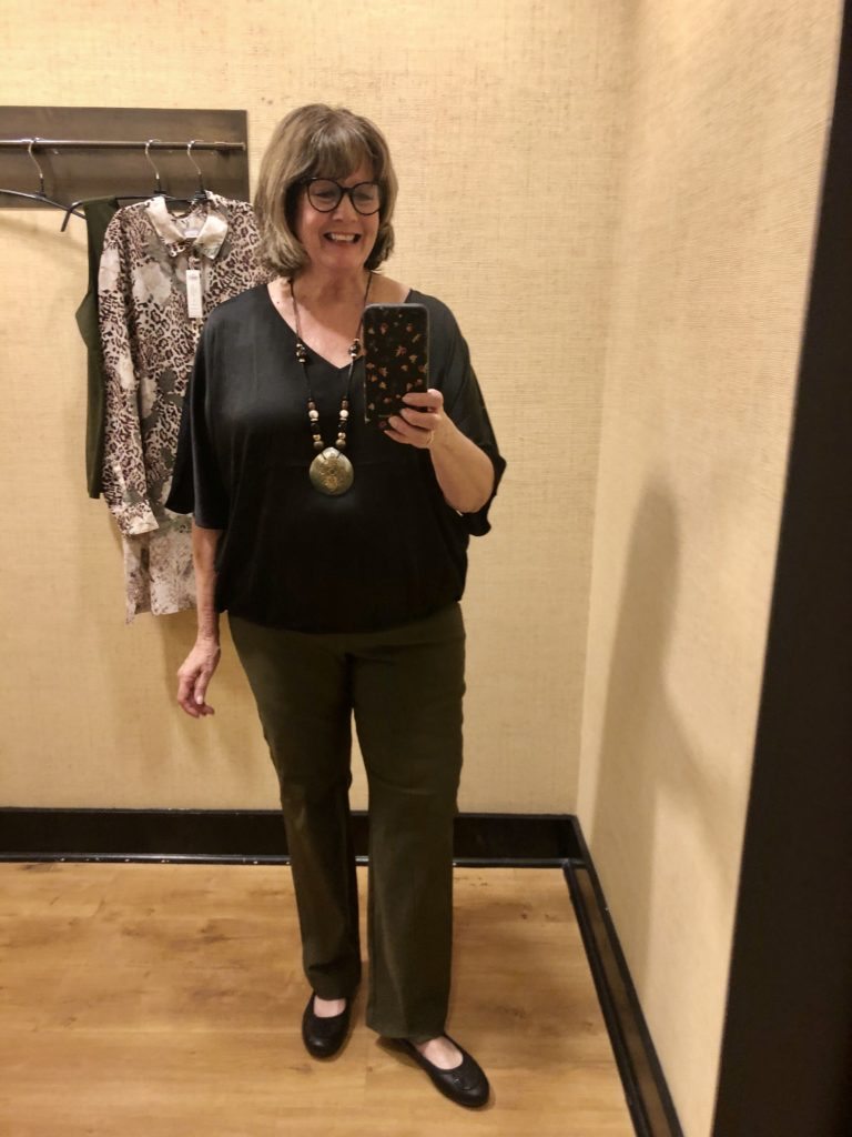 Pamela Lutrell in Black Label Top at Chicos