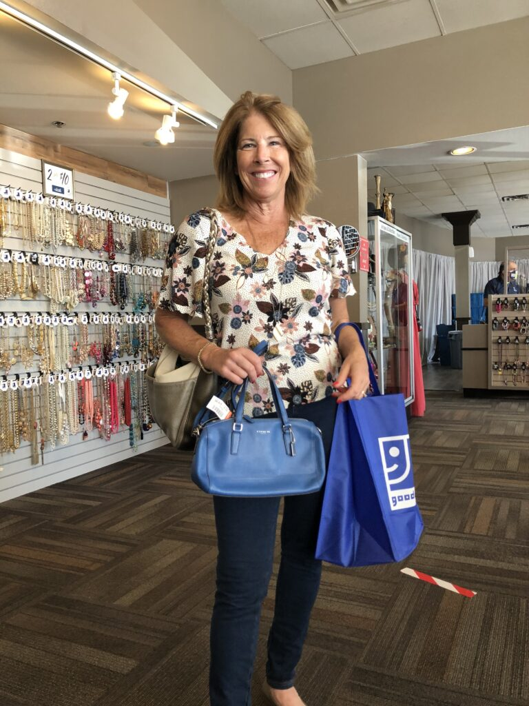 Leigh Ann with Coach Purse from Goodwill Accents