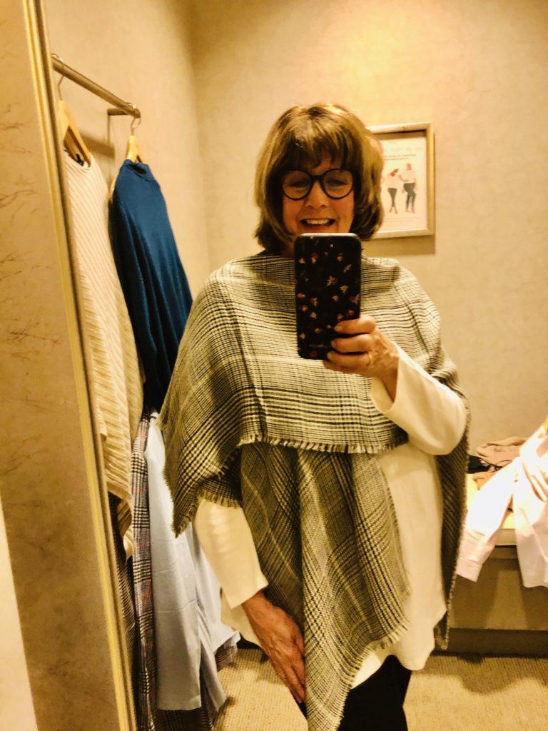 Pamela Lutrell in JJill Ruana on Over 50 Feeling 40