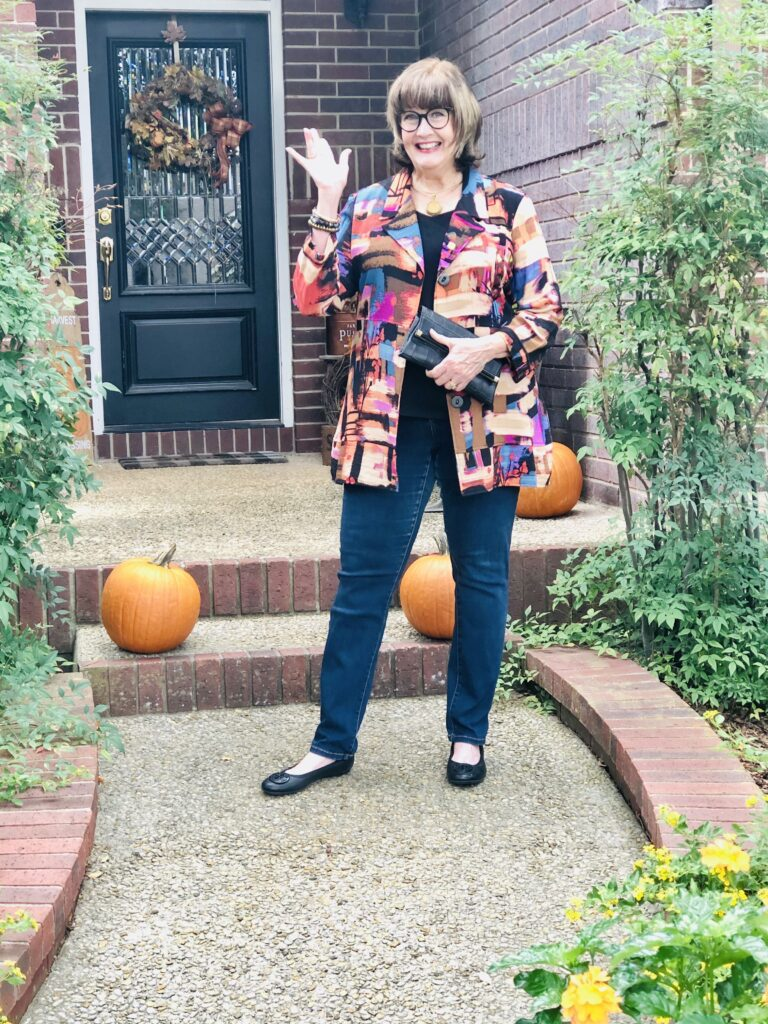 Pamela Lutrell in artisan jacket for fall clothing