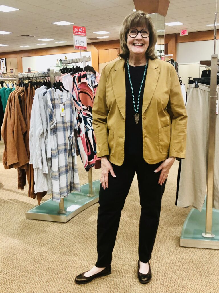 Pamela Lutrell in Eileen Fisher for Fall 2020 at Dillard's