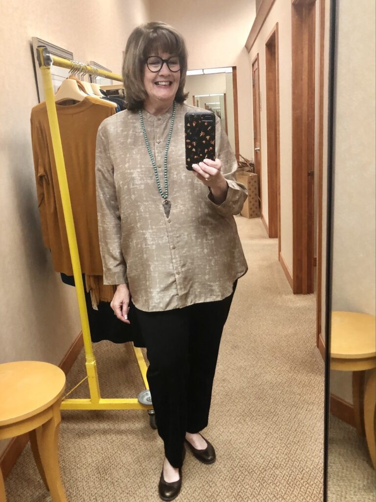 Pamela Lutrell in Eileen Fisher for Fall 2020