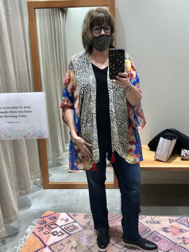 Pamela Lutrell in Johnny Was kimono