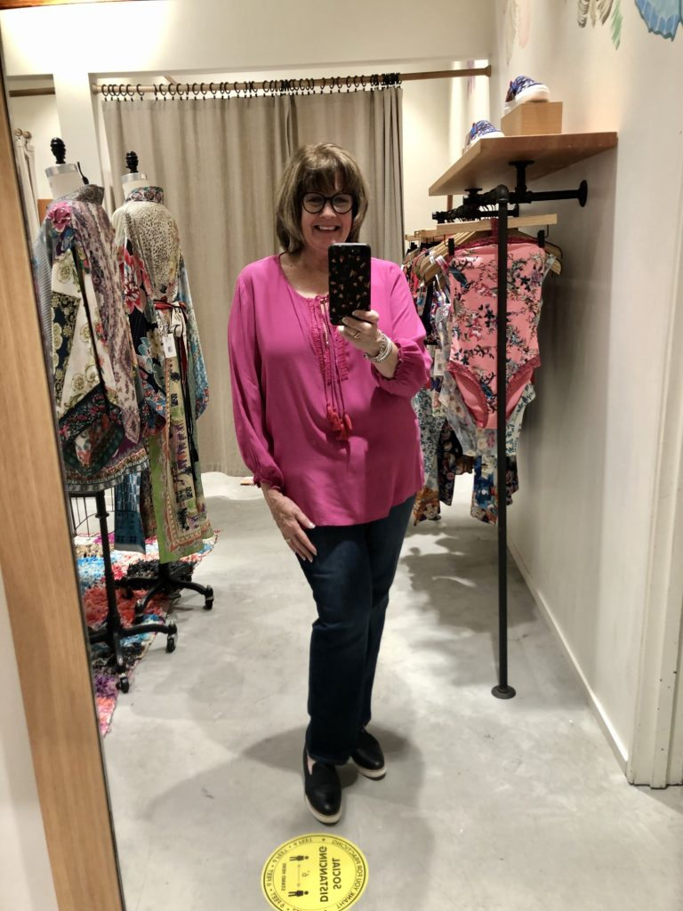 Johnny Was pink tunic on Over 50 Feeling 40