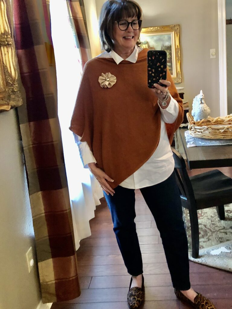 Pamela Lutrell in Talbots Fall 2020 clothing