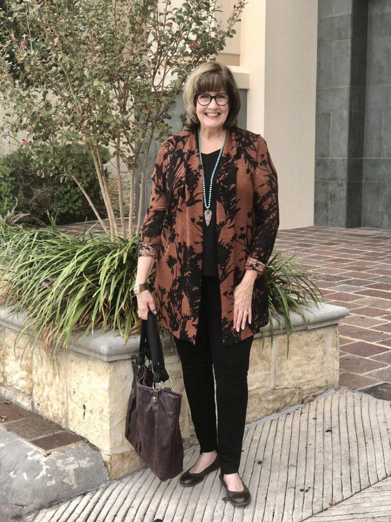 Pamela Lutrell in fall clothing on over 50 feeling 40