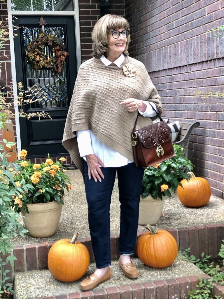 Pamela Lutrell in a fall Goodwill SA find on over 50 feeling 40