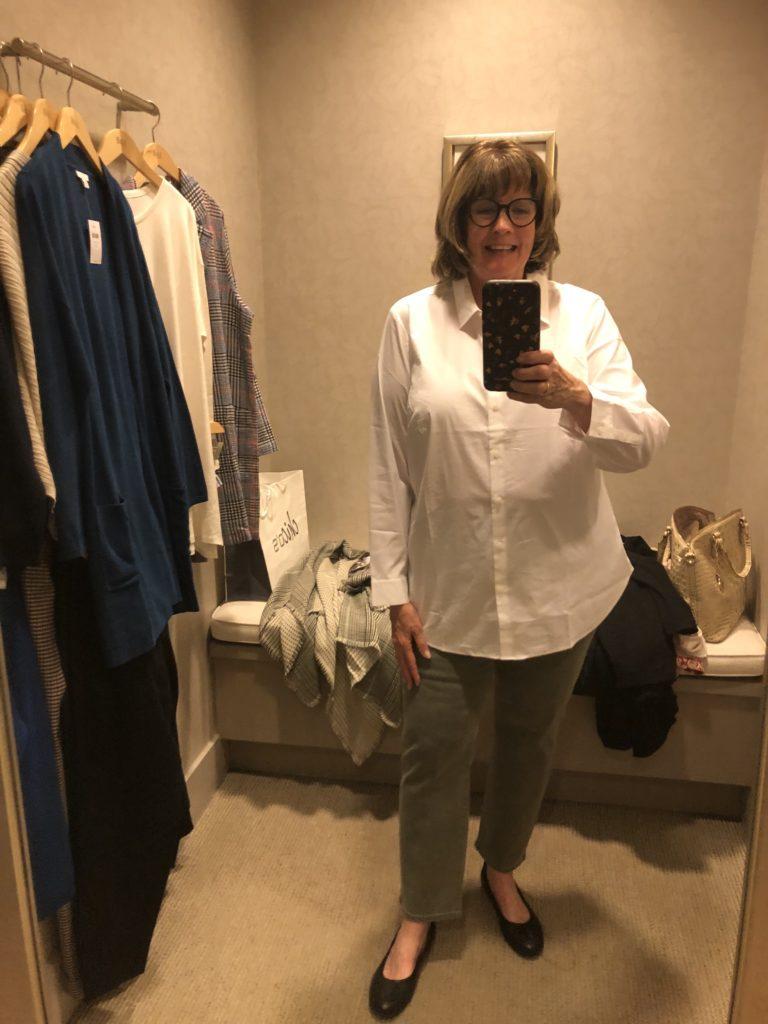 Pamela Lutrell in JJill white shirt on Over 50 Feeling 40