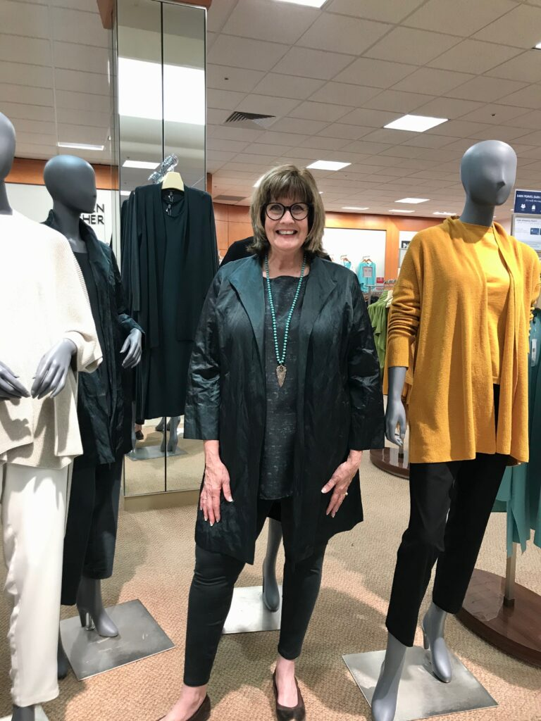 Pamela Lutrell in Eileen Fisher Fall 2020 at Dillard's