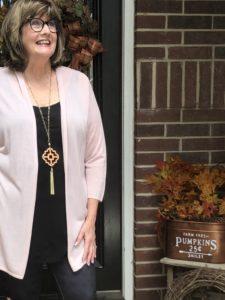 Pamela Lutrell in JJill Cardigan on Over 50 Feeling 40