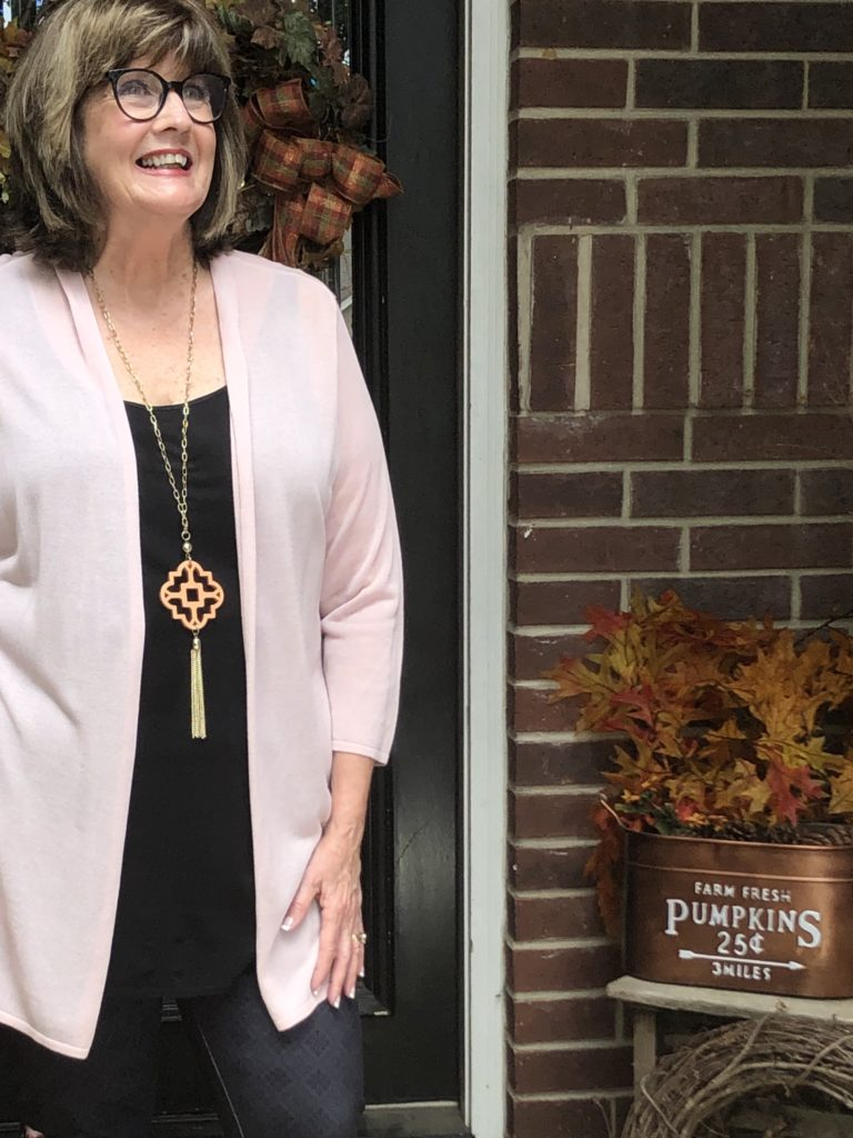 Pamela Lutrell in JJill Cardigan on Over 50 Feeling 40