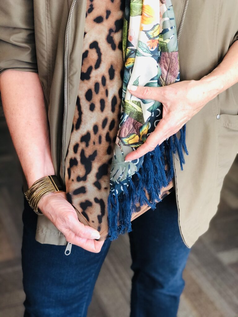 Pamela Lutrell mixes prints in a fall outfit