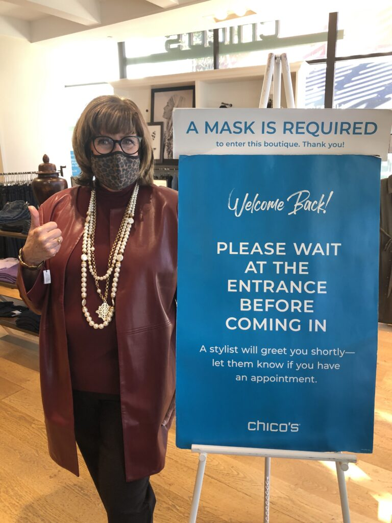 Pamela Lutrell in safe Chico's in store