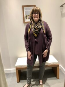 Pamela Lutrell in a 2 pocket cardigan at J.Jill