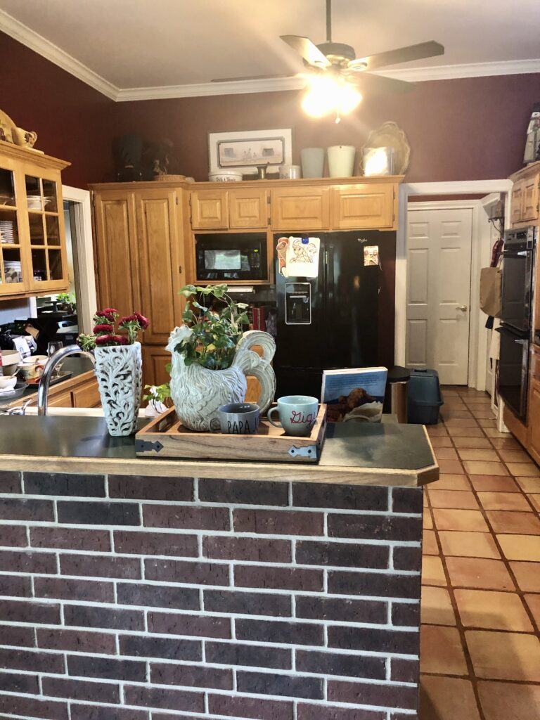 Pamela Lutrell kitchen before remodel on over 50 Feeling 40