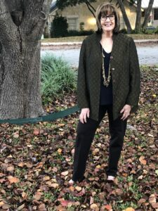 Pamela Lutrell in Goodwill SA find for fall clothing