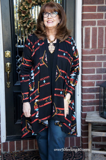 Pamela Lutrell in printed cardigan for fall