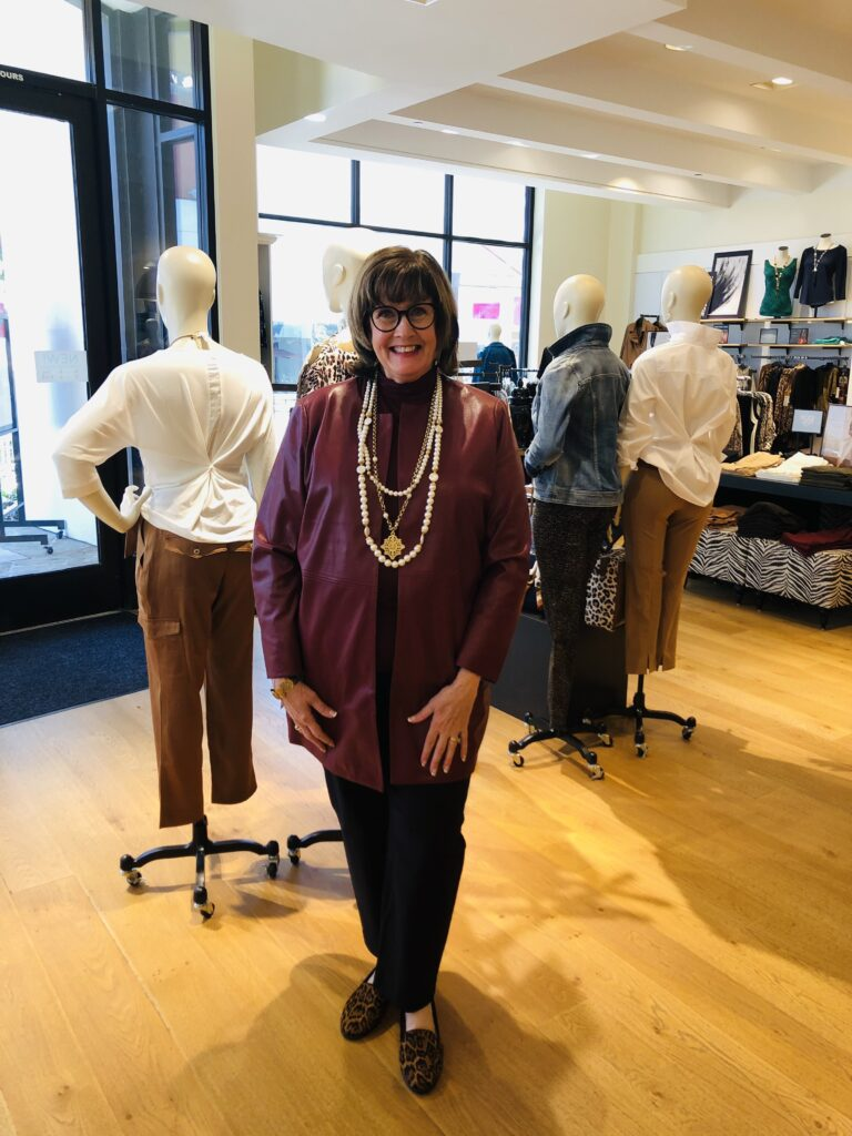 Pamela Lutrell in Faux Leather at Chico's
