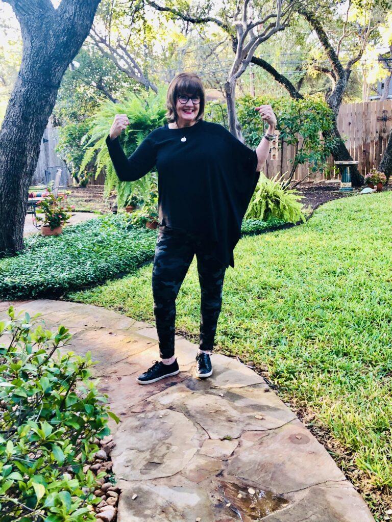 Pamela Lutrell styles Chico's camo leggings