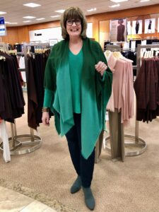 Eileen Fisher Green V neck at Dillards on over 50 Feeling 40