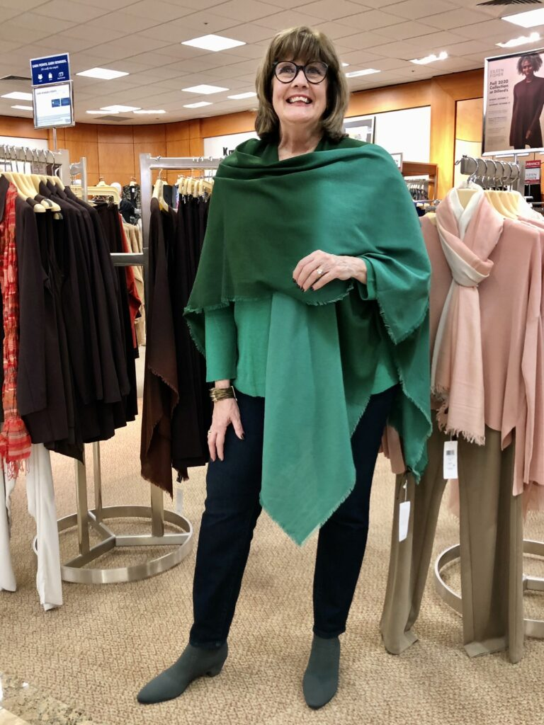 Pamela Lutrell in Eileen Fisher Green for Fall 2020