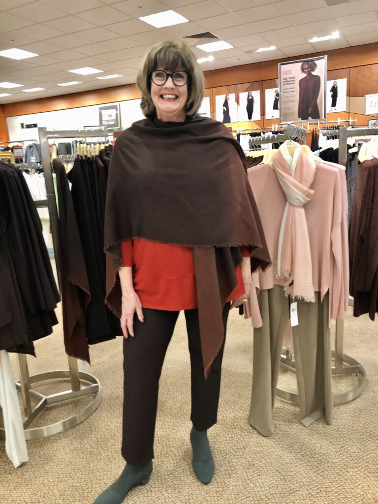Pamela Lutrell in Eileen Fisher brownstone color at Dillard's