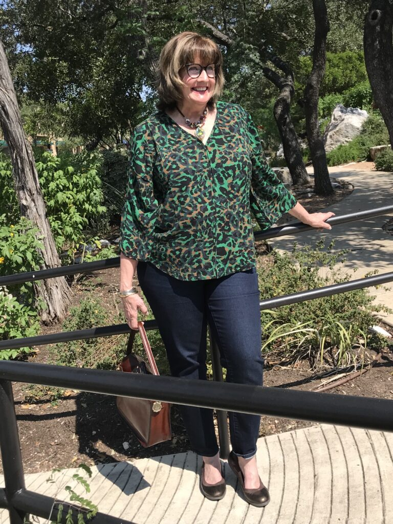 Pamela Lutrell in affordable Chico's top for fall clothing