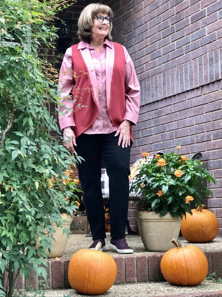 Pamela Lutrell in Foxcroft Fall Clothing