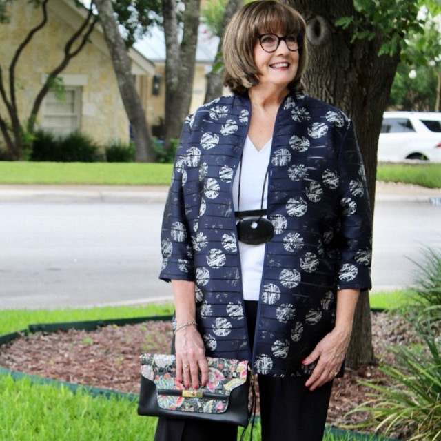 Pamela Lutrell in jacket from Dillards on over 50 feeling 40