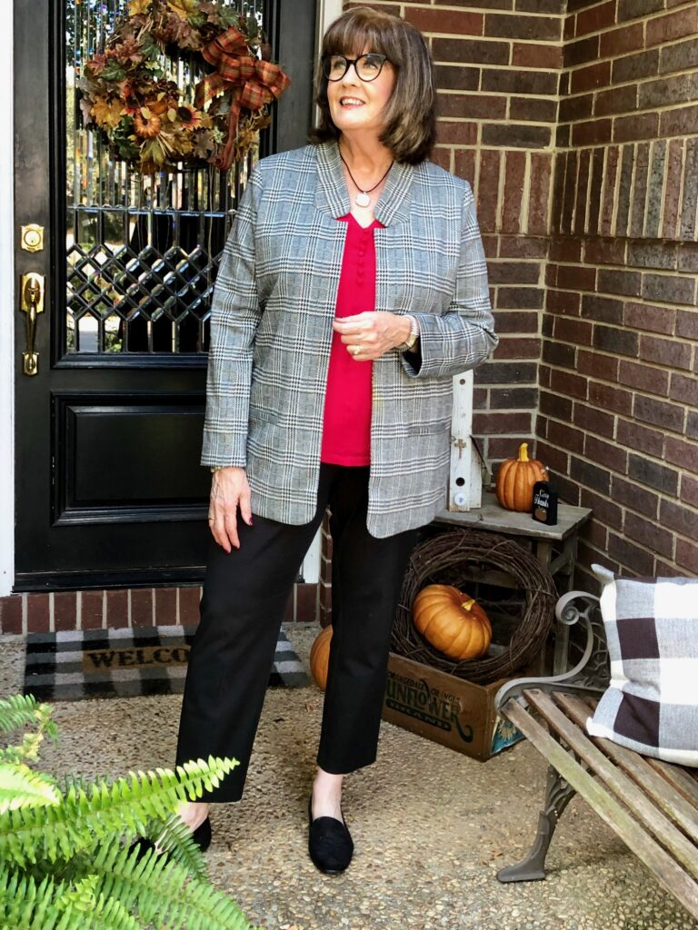 Pamela Lutrell in Boxy Jacket on Over 50 Feeling 40