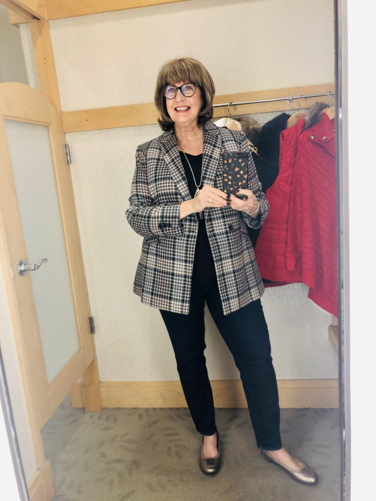 Pamela Lutrell in Talbots plaid blazer and denim