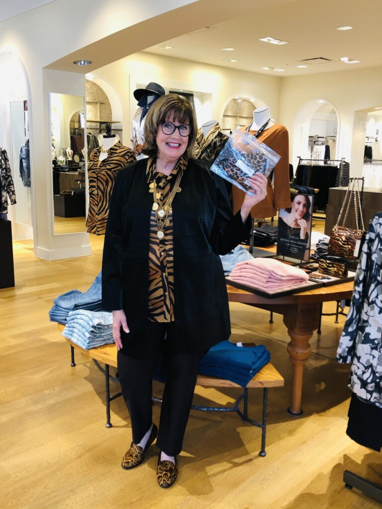 Pamela Lutrell in Chico's Faux Leather Jacket for Fall Clothing