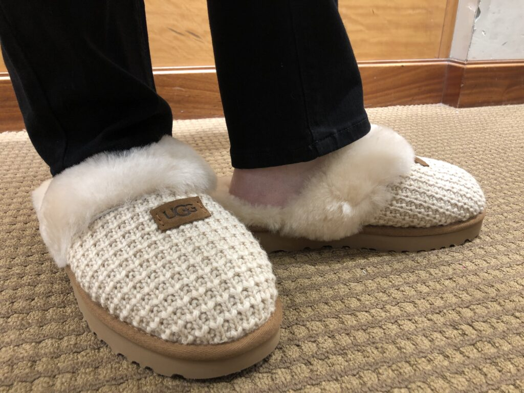 Pamela Lutrell in the UGG Cozy Knit Slippers