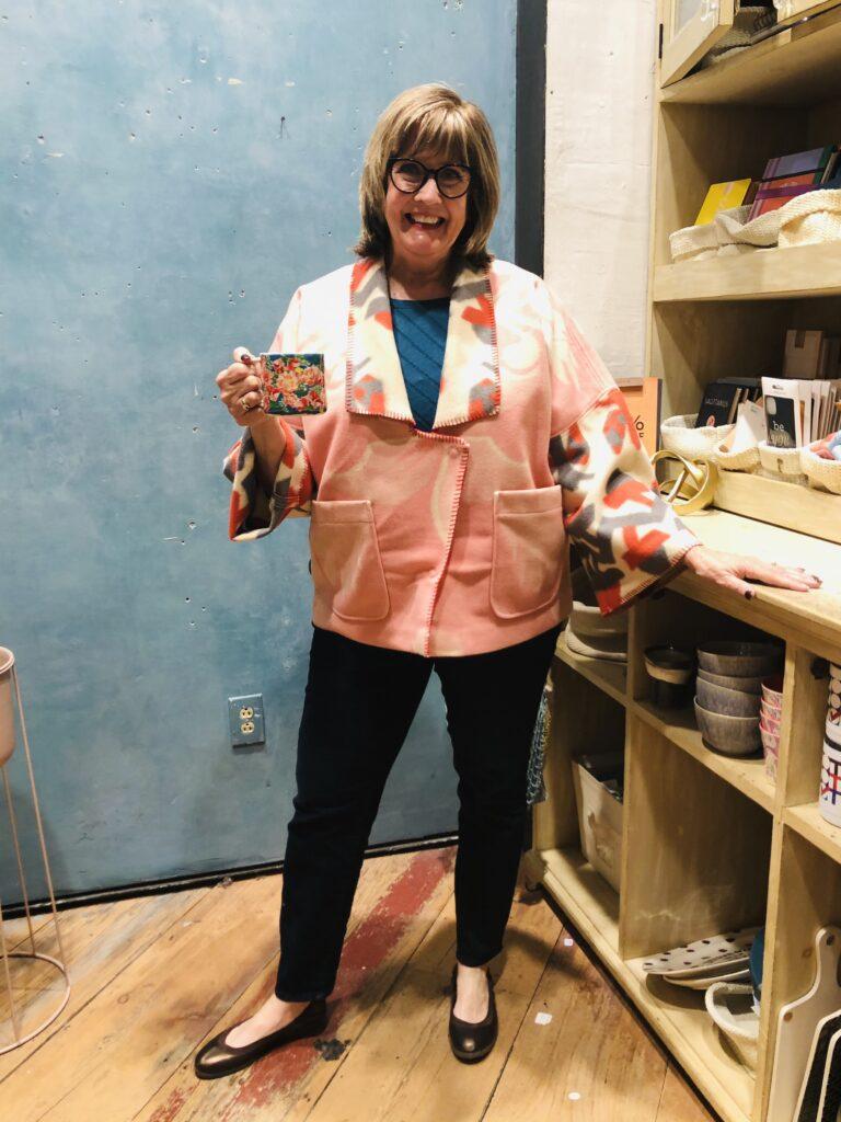 Anthropologie kimono jacket on Pamela Lutrell 2020
