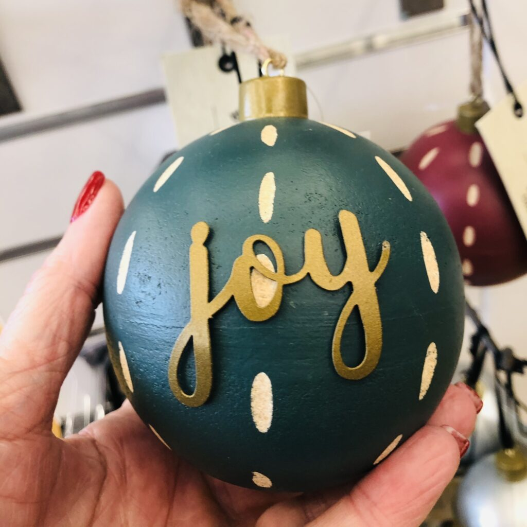 Holiday Joy ornaments on Over 50 Feeling 40