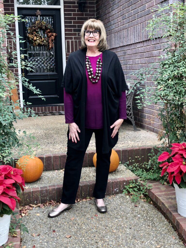 Pamela Lutrell in magenta for Thanksgiving