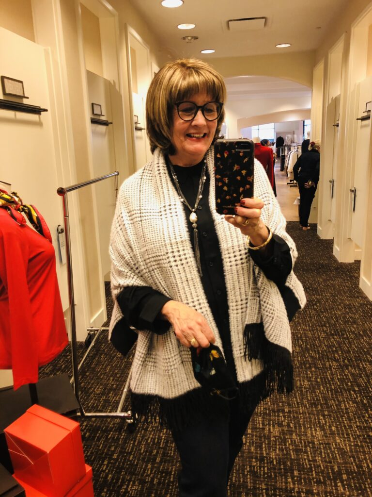 Pamela Lutrell in Chico's Ruana on Over 50 Feeling 40