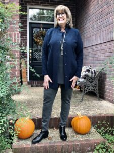 Pamela Lutrell in Eileen Fisher jacket and top for a fall style 2020