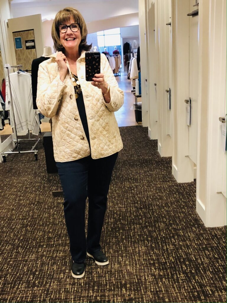 Pamela Lutrell in Fall Clothing at Chicos on Over 50 Feeling 40