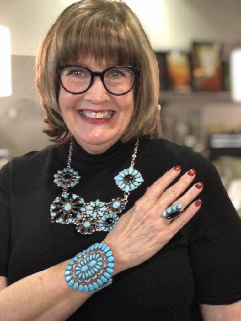 Pamela Lutrell wears southwestern Jewelry