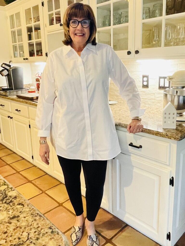 Pamela Lutrell in Foxcroft white tunic
